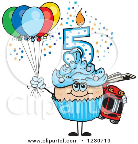 Clipart of a Blue Boys Fifth Birthday Cupcake with a Fire Engine and Balloons - Royalty Free Vector Illustration by Dennis Holmes Designs
