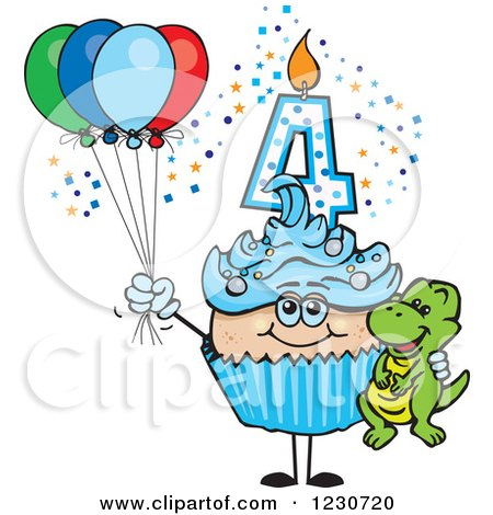 Clipart of a Blue Boys Fourth Birthday Cupcake with a Dinosaur and Balloons - Royalty Free Vector Illustration by Dennis Holmes Designs