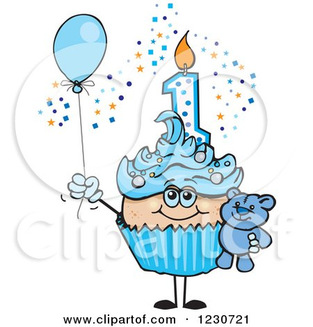 Clipart of a Blue Boys First Birthday Cupcake with a Teddy Bear and Balloon - Royalty Free Vector Illustration by Dennis Holmes Designs