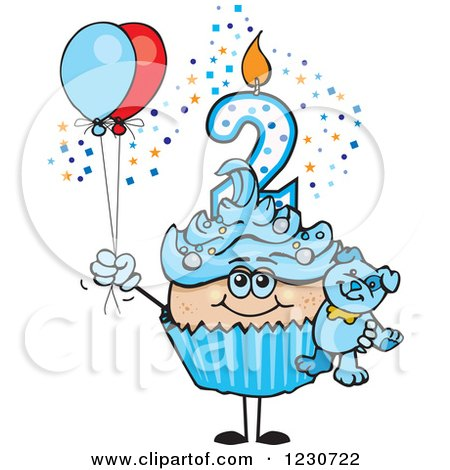 Clipart of a Blue Boys Second Birthday Cupcake with a Teddy Bear and Balloons - Royalty Free Vector Illustration by Dennis Holmes Designs