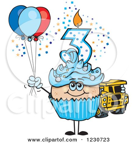 Clipart of a Blue Boys Third Birthday Cupcake with a Toy Truck and Balloons - Royalty Free Vector Illustration by Dennis Holmes Designs