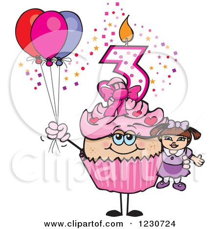 Clipart of a Pink Girl Third Birthday Cupcake with a Doll and Balloons - Royalty Free Vector Illustration by Dennis Holmes Designs