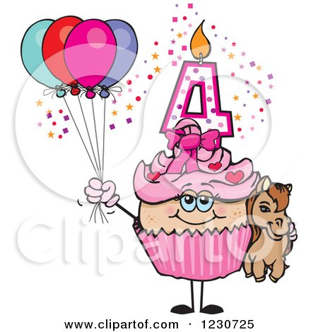 Clipart of a Pink Girls Fourth Birthday Cupcake with a Pony and Balloons - Royalty Free Vector Illustration by Dennis Holmes Designs