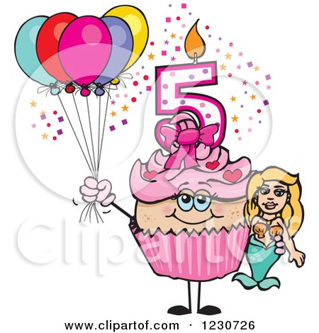 Clipart of a Pink Girls Fifth Birthday Cupcake with a Mermaid and Balloons - Royalty Free Vector Illustration by Dennis Holmes Designs