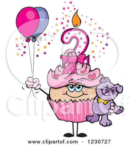 Clipart of a Pink Girls Second Birthday Cupcake with a Teddy Bear and Balloons - Royalty Free Vector Illustration by Dennis Holmes Designs