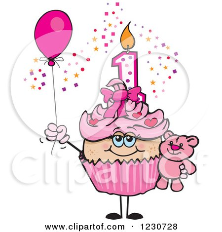 Clipart of a Pink Girls First Birthday Cupcake with a Teddy Bear and Balloon - Royalty Free Vector Illustration by Dennis Holmes Designs