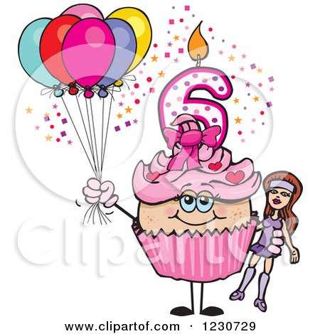 Clipart of a Pink Girls Sixth Birthday Cupcake with a Doll and Balloons - Royalty Free Vector Illustration by Dennis Holmes Designs
