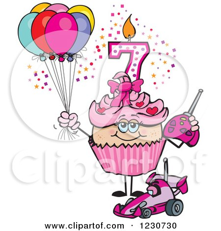 Clipart of a Pink Girls Seventh Birthday Cupcake with a Remote Control Car and Balloons - Royalty Free Vector Illustration by Dennis Holmes Designs