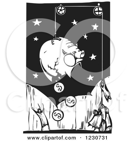 Clipart of a Woodcut of People Breaking a Piggy Bank - Royalty Free Vector Illustration by xunantunich
