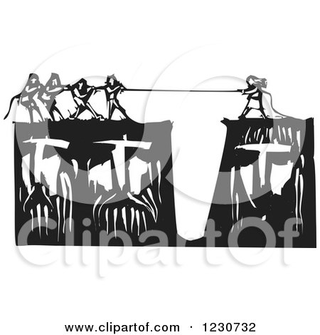 Clipart of a Black and White Woodcut of People Playing Tug of War on Heads - Royalty Free Vector Illustration by xunantunich