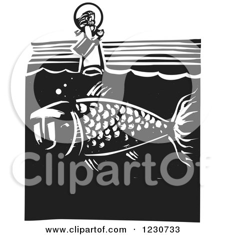 Clipart of a Black and White Woodcut Fish Under Jesus Walking on Water - Royalty Free Vector Illustration by xunantunich