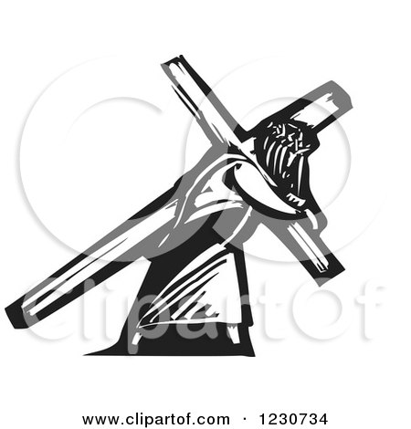 Clipart of a Black and White Woodcut Jesus Christ Carrying a Cross - Royalty Free Vector Illustration by xunantunich