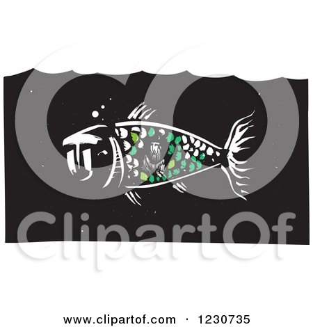 Clipart of a Woodcut Whale with Jonah in Its Belly - Royalty Free Vector Illustration by xunantunich