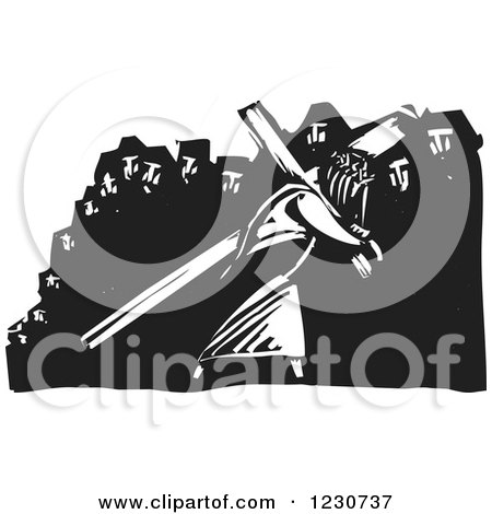 Clipart of a Black and White Woodcut Crowd and Jesus Bearing the Cross - Royalty Free Vector Illustration by xunantunich