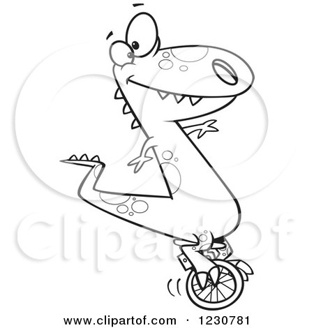 Clipart of a Line Art Cartoon T Rex Dinosaur on a Unicycle - Royalty Free Vector Illustration by toonaday
