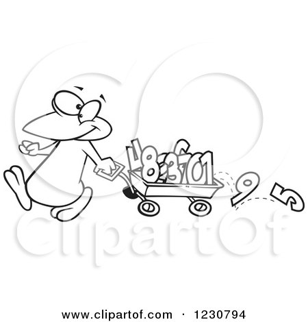 Clipart of a Line Art Cartoon Penguin Pulling Numbers in a Wagon - Royalty Free Vector Illustration by toonaday