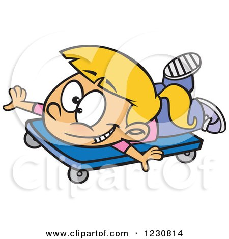 Clipart of a Cartoon Blond Girl Playing on a Scooter Board - Royalty Free Vector Illustration by toonaday
