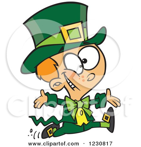 Clipart Of A Cartoon St Patricks Day Boy Running In A Leprechaun Costume Royalty Free Vector Illustration