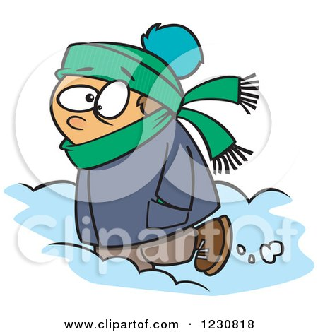 Clipart of a Cartoon Caucasian Boy Trudging Through Snow - Royalty Free Vector Illustration by toonaday
