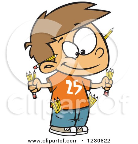 Clipart of a Cartoon Caucasian Boy Prepared with Pencils - Royalty Free Vector Illustration by toonaday