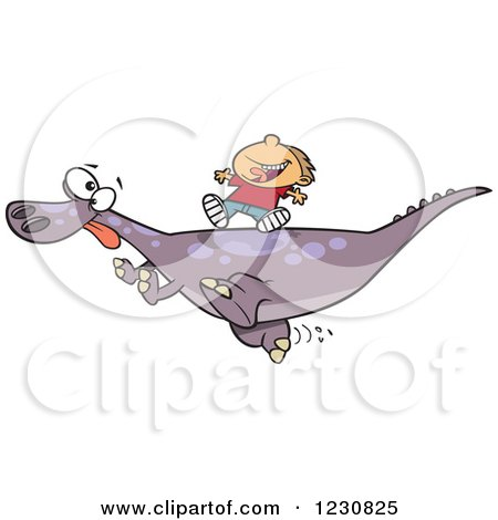 Clipart of a Cartoon Caucasian Boy Riding on a Pet T Rex Dinosaur - Royalty Free Vector Illustration by toonaday