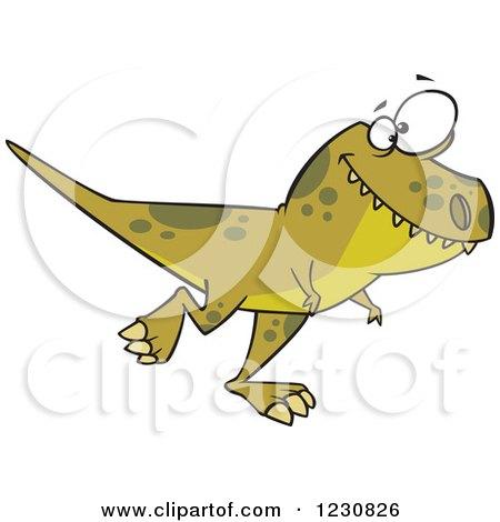Clipart of a Cartoon Green T Rex Dinosaur Walking Royalty Free Vector Illustration by toonaday