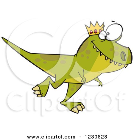 Clipart of a Cartoon Green King T Rex Dinosaur Walking - Royalty Free Vector Illustration by toonaday