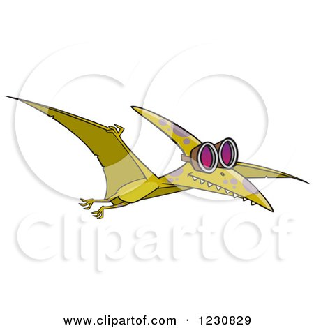 Clipart of a Cartoon Green Pterodactyl Dinosaur Flying in Goggles - Royalty Free Vector Illustration by toonaday