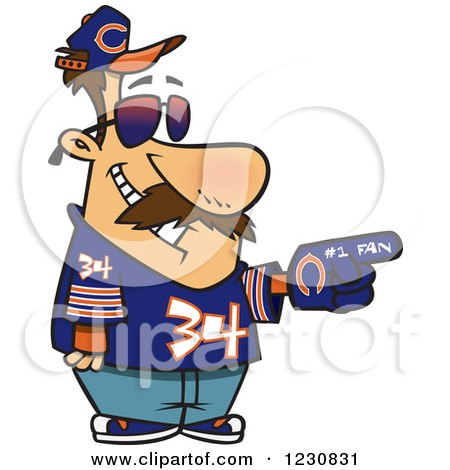 Clipart of a Cartoon Chicago Bears Football Fan Man All Decked out - Royalty Free Vector Illustration by toonaday