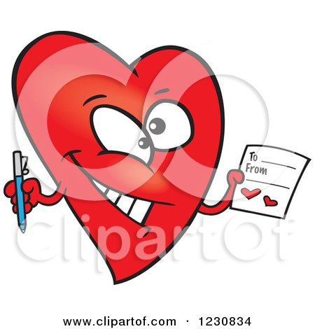 Clipart of a Cartoon Red Heart Character Holding a Valentine - Royalty Free Vector Illustration by toonaday