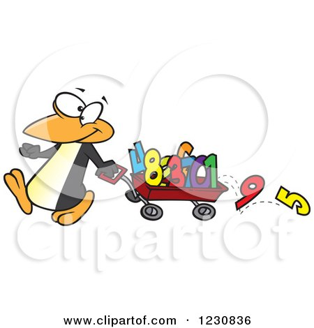 Clipart of a Cartoon Penguin Pulling Numbers in a Wagon - Royalty Free Vector Illustration by toonaday