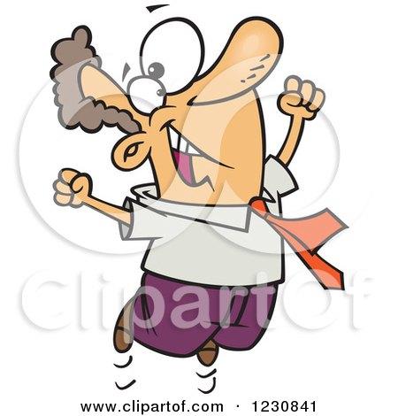 Cartoon Happy Caucasian Business Man Jumping Posters, Art Prints
