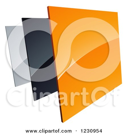 Clipart Of A | 3d Shiny Orange Black and Silver Square Tiles Logo | Royalty Free Vector Illustration by beboy