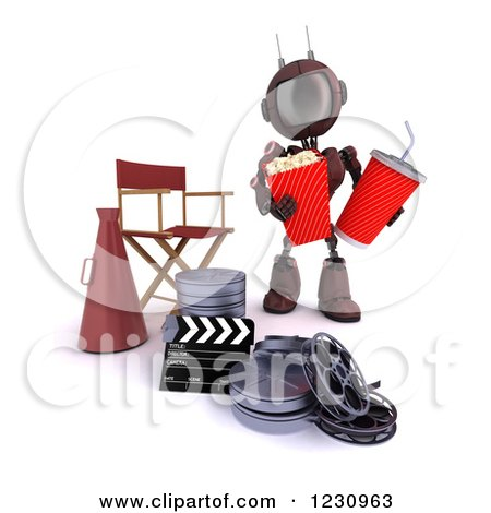Clipart of a 3d Red Android Robot with Popcorn and Soda by a Movie Director Chair - Royalty Free Illustration by KJ Pargeter