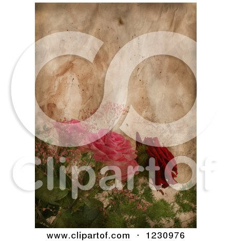 Clipart of a Vintage Aged Paper Background with Roses - Royalty Free Illustration by KJ Pargeter