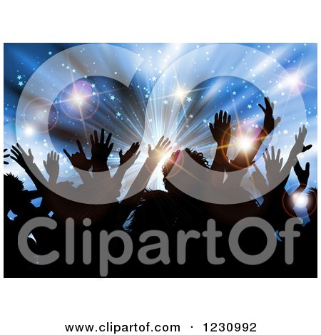 Clipart of a Silhouetted Crowd over a Blue Star Burst and Flares - Royalty Free Vector Illustration by KJ Pargeter