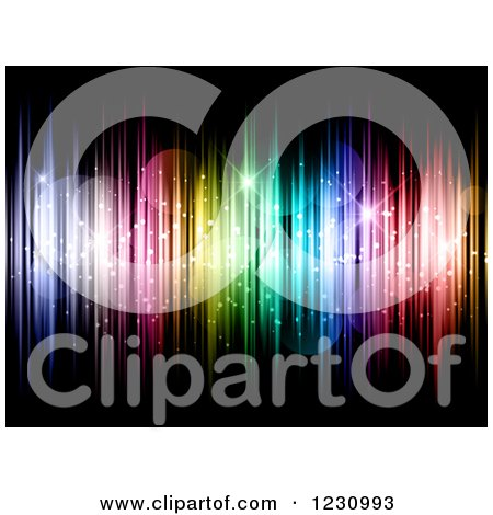 Clipart of a Background of Colorful Vertical Lights Stars and Flares - Royalty Free Vector Illustration by KJ Pargeter