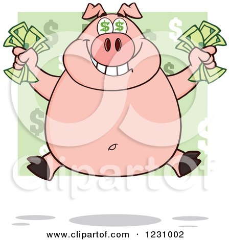 Clipart of a Rich Pig with Dollar Eyes, Holding Cash Money - Royalty Free Vector Illustration by Hit Toon