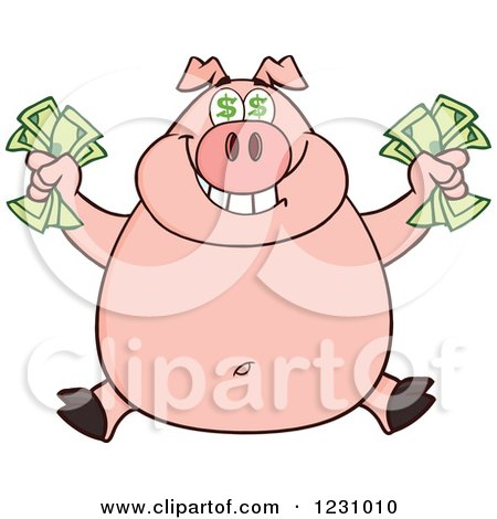 Clipart of a Rich Happy Pig with Dollar Eyes, Holding Cash Money - Royalty Free Vector Illustration by Hit Toon