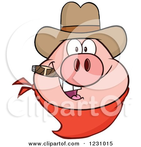 Clipart Of A Pig Head With A Cowboy Hat Cigar And Bandana Royalty Free Vector Illustration