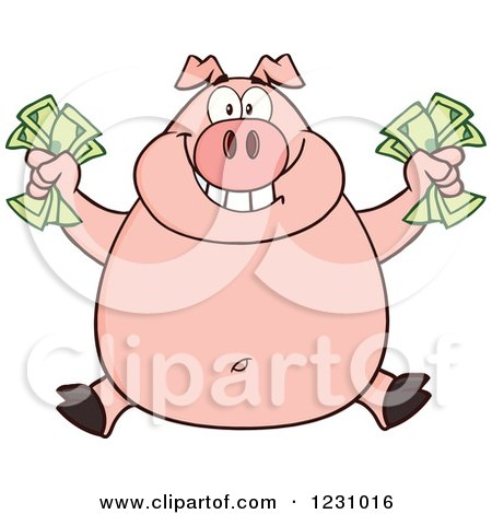 Clipart of a Rich Happy Pig Holding Cash Money - Royalty Free Vector Illustration by Hit Toon