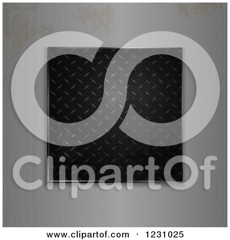 Clipart of a 3d Black Diamond Plate Panel Framed with Rusty Brushed Metal - Royalty Free Vector Illustration by elaineitalia