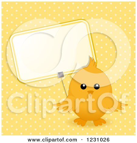 Clipart of a Cute Easter Chick with a Sign over Yellow Polka Dots - Royalty Free Vector Illustration by elaineitalia