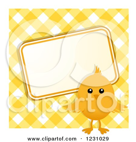 Clipart of a Cute Easter Chick with a Sign over Yellow Gingham - Royalty Free Vector Illustration by elaineitalia