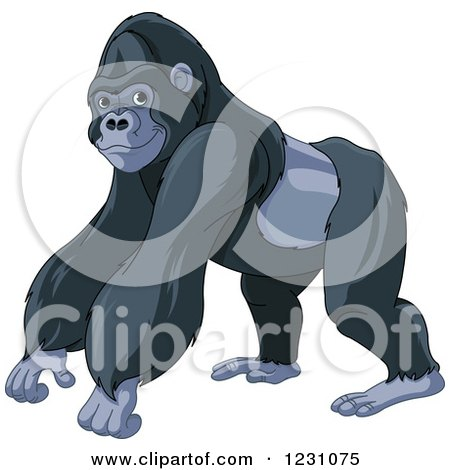 Clipart of a Cute Strong Gorilla - Royalty Free Vector Illustration by Pushkin