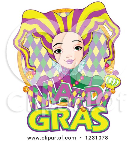 Clipart of a Mardi Gras Jester Girl over Text in a Frame - Royalty Free Vector Illustration by Pushkin