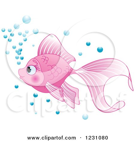 Clipart of a Cute Pink Fish with Bubbles - Royalty Free Vector Illustration by Pushkin
