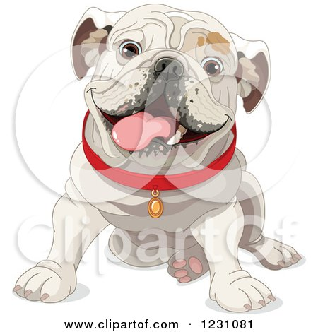 Clipart of a Cute Happy Sitting Bulldog in a Red Collar - Royalty Free Vector Illustration by Pushkin