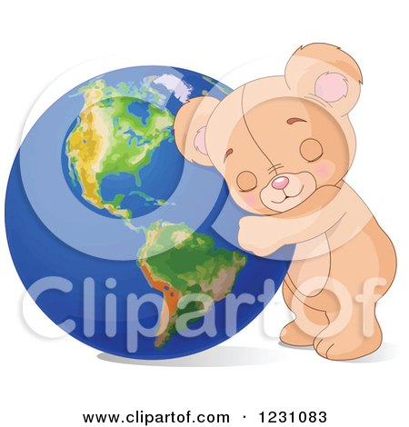 Clipart of a Cute Teddy Bear Hugging Earth - Royalty Free Vector Illustration by Pushkin