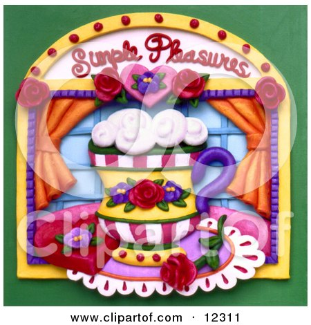 Clay Sculpture Clipart Simple Pleasures Cup Window Scene - Royalty Free 3d Illustration  by Amy Vangsgard